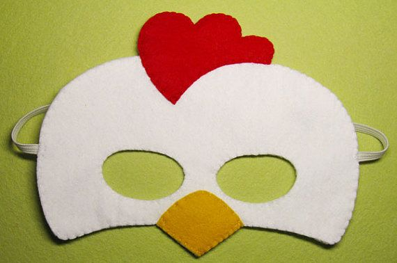 Rooster felt mask for kid  white red yellow  farm by FeltFamily