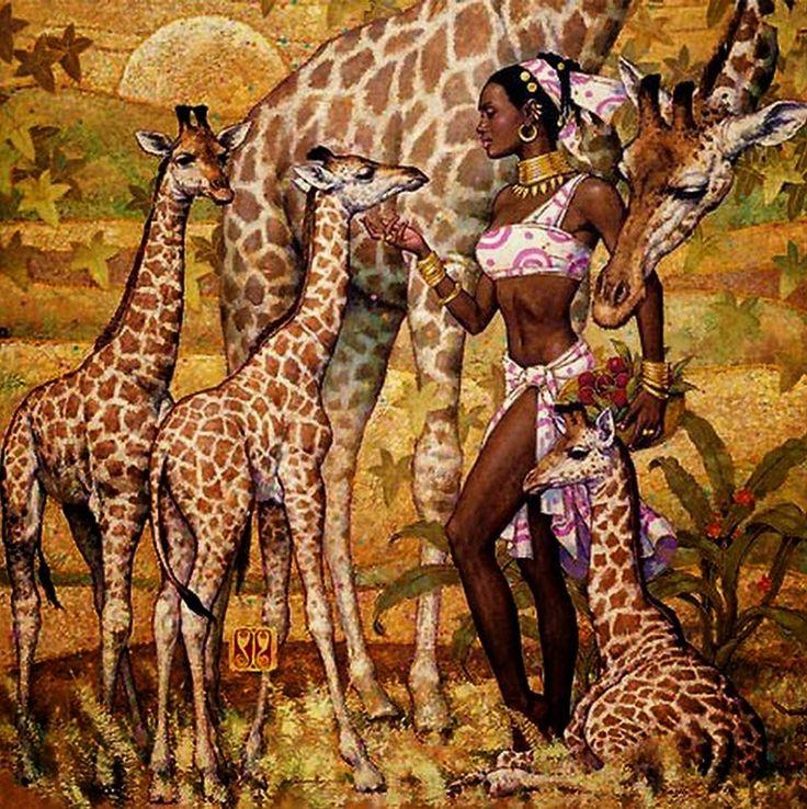 cuadros-en-oleo-de-mujeres-africanas-negras                              …