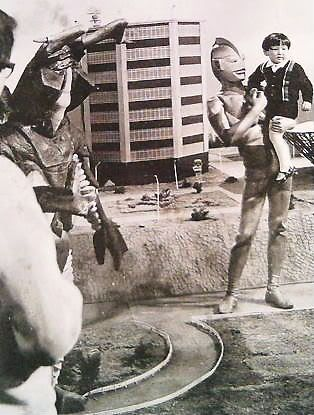 ULTRAMAN with unknown child during production of Episode 39, 1966...lucky kid.
