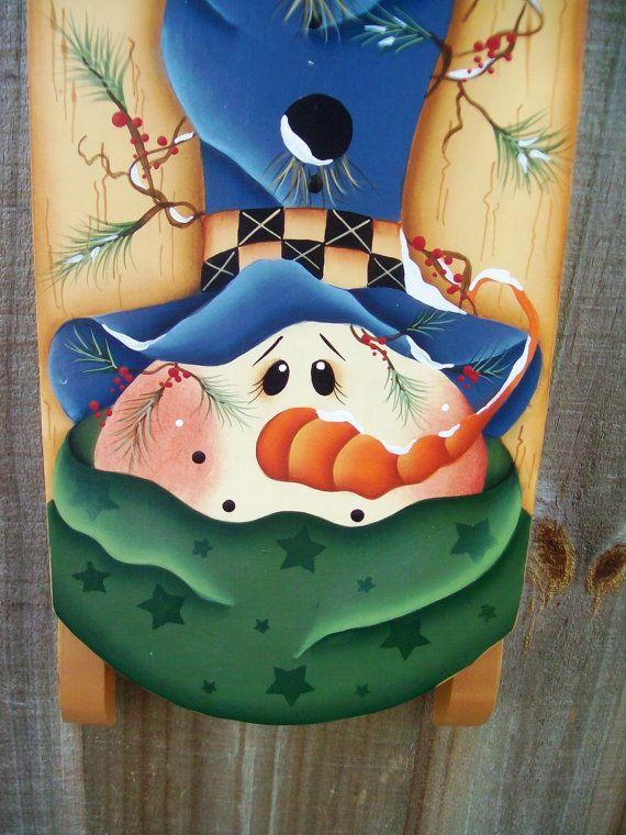 Snowman Sled, Winter, Birdhouse,  Sled, Wall Hanging, Seasonal, Home decor, Holidays