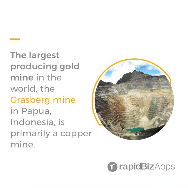 The largest producing #gold mine in the world, the Grasberg mine in Papua, #Indonesia, is primarily a copper mine. Pt.freeport indonesia  #mining #getstuffdone #didyouknow