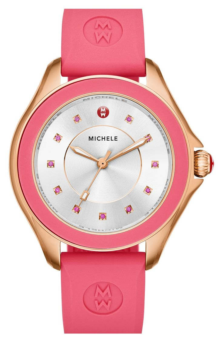 So perfect in pink! Eleven colorful, sparkling topaz stones mark the sunray dial of this casually luxurious watch from Michele.