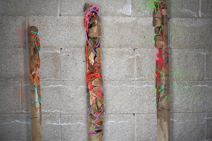 Quantum Column Concept  #lightart #art #abstractsculpture #electroluminescentwire #elwire #newyorkart #cement #concrete #column