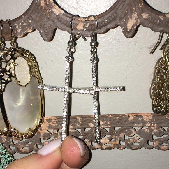 Diamond cross earrings Silver dangle cross earrings! No stones are missing Jewelry Earrings