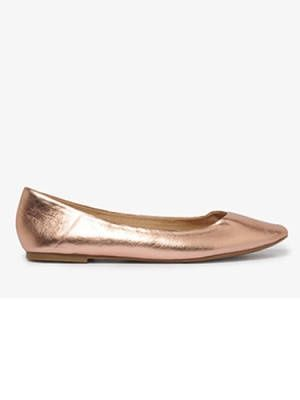 Although they're metallic, these rose gold flats are surprisingly neutral—as in they'll go with every single thing you own.    Forever 21 Metallic Rose Gold Flats, $16.80, forever21.com