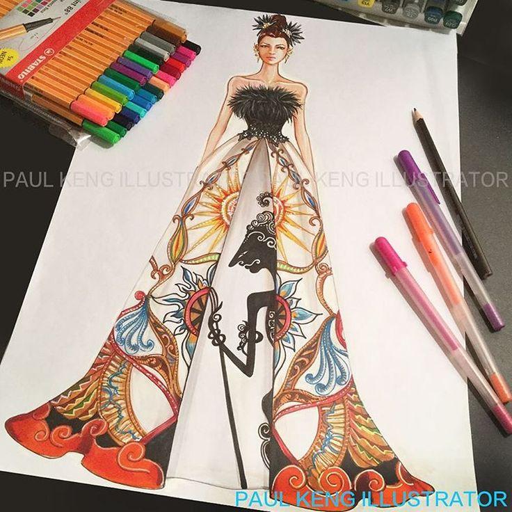 Inspired by Wayang Kulit, Javanese Shadow Puppets #fashion #fashiondesign #fashionillustrator #fashiondesigner #paulkengillustrator #inspiration #indonesia #thankyou