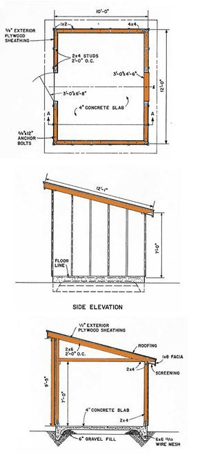 10×12 Lean To Storage Shed Plans