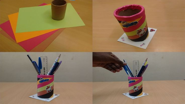 How to make a diy pen stand from waste materials recycled for Waste material craft ideas