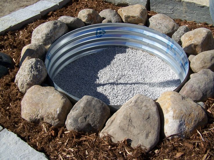 Fire Pit Idea... would replace the mulch with river rock... LIKE IT!