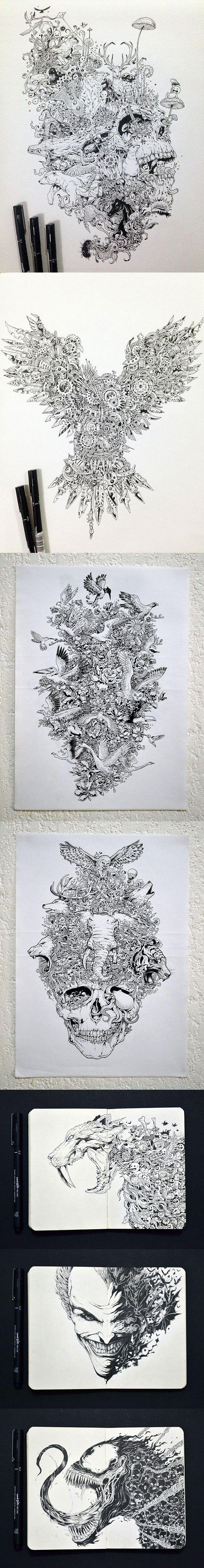 Les dessins et illustrations bourrées de détails de Kerby Rosanes (Philippines). Beaucoup d'autres à découvrir sur son Behance.