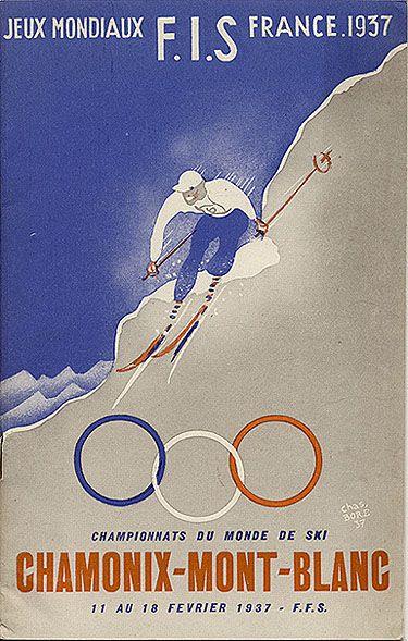 vintage ski poster - Jeux Mondiaux F.I.S. France 1937 - Chamonix - Mont-Blanc