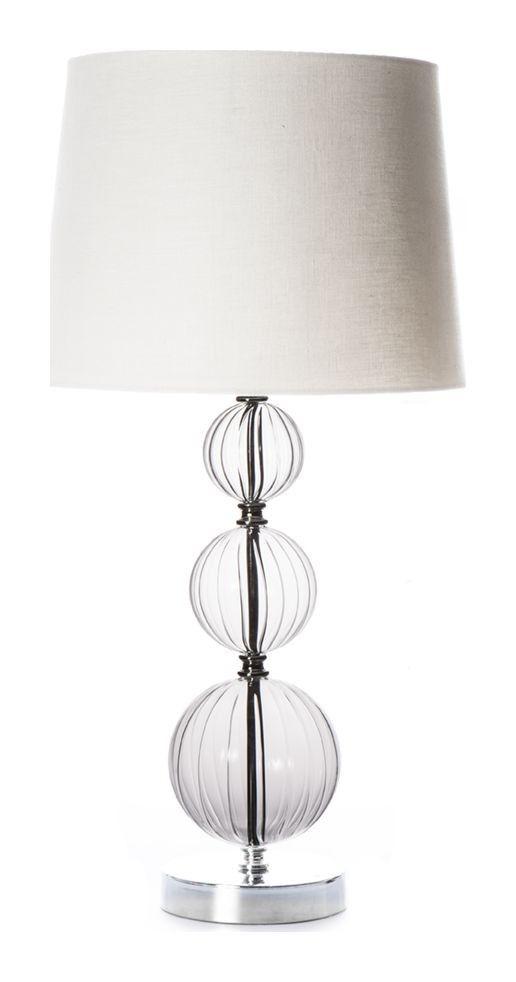 Bordslampa Glasklart, vacker silverfärgad lampfot med glaskulor