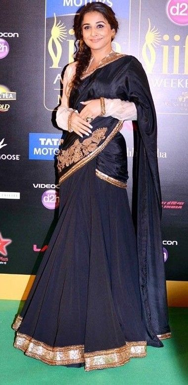 Vidya Balan in Black Designer Saree