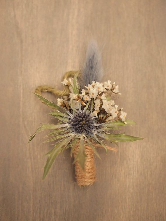 Natural Dried Floral Rustic Wedding Boutonniere by LindenFlowers
