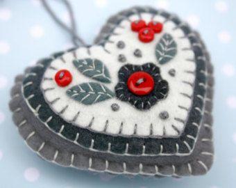 Fieltro adornos de Navidad hecho a mano fieltro por PuffinPatchwork
