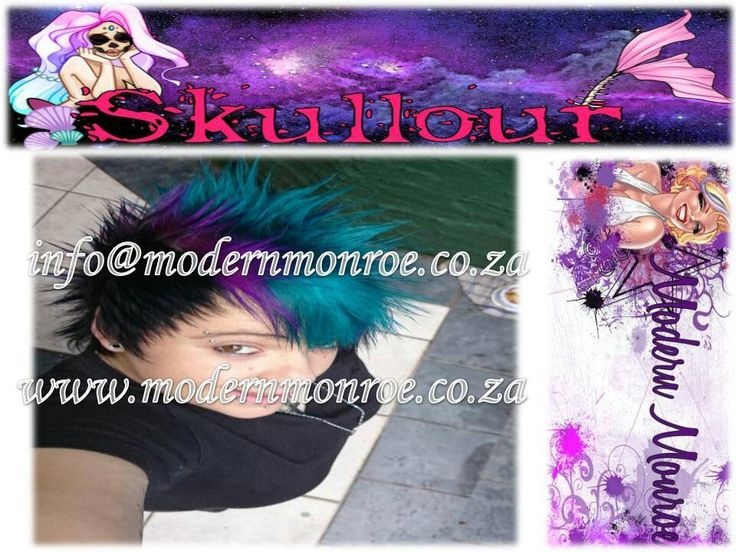 Turquoise and purple Skullour hair dye. Skullour is a vegan friendly, cruelty free product that delivers long lasting beautiful results. For more info http://www.modernmonroe.co.za/index.php/online-shop/category/view/2