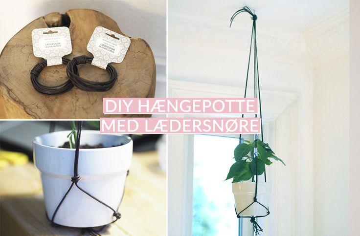 DIY Hængepotte med lædersnøre/ DIY hanging pot with leather cords ...