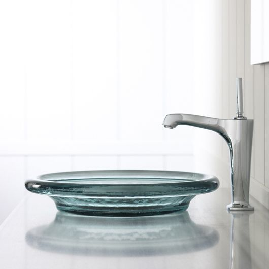 """The Spun Glass® Sink has a solid shape that gives an icy look. It comes in a variety of cool colors, one of them even being """"Ice,"""" but my personal favorite is the teal-ish """"Dew,"""" although the blue """"Dusk"""" runs a close second."""
