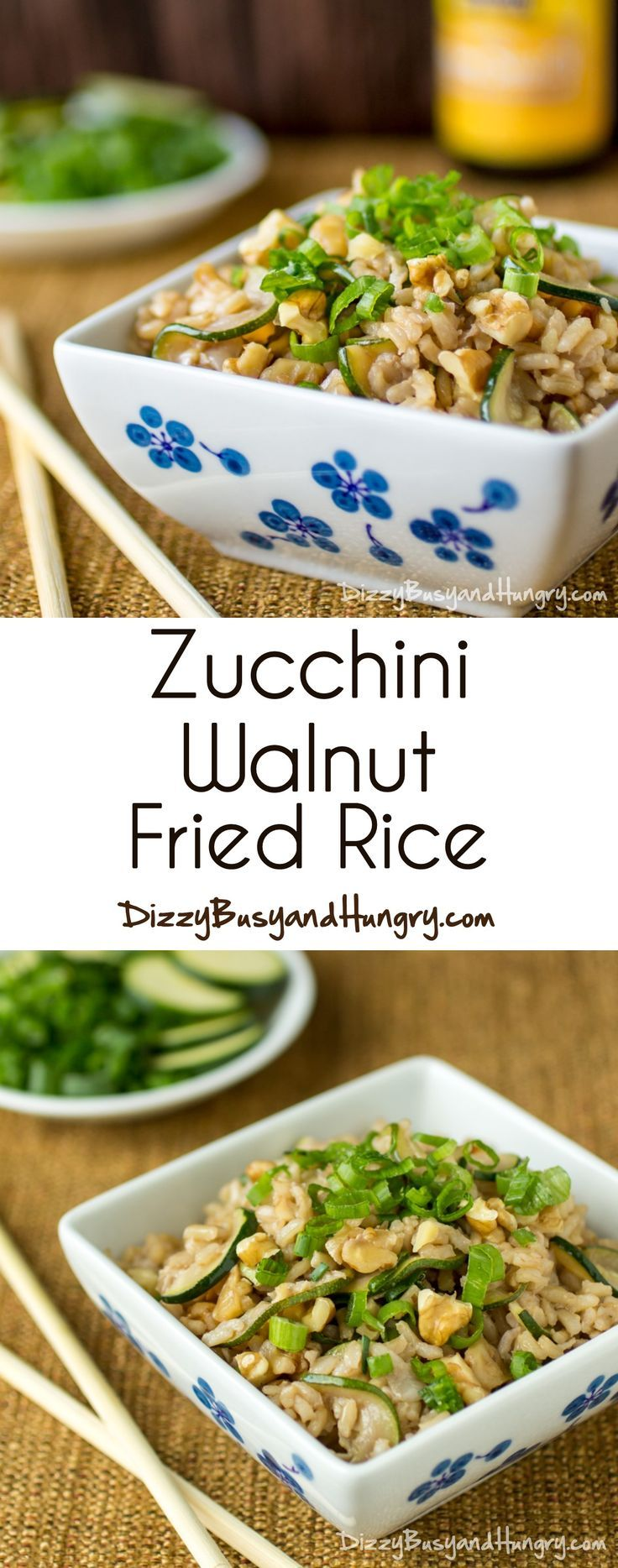 Zucchini Walnut Fried Rice | DizzyBusyandHungry.com - Skip the Chinese takeout - this healthy and tasty fried rice is so easy to make!