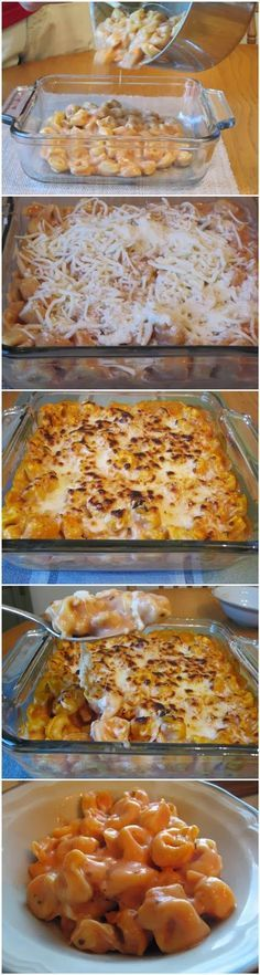Tortellini Bake - -1 bag of frozen cheese filled tortellini (19 or 20 oz) -1 jar of alfredo sauce (15 oz) -1/2 jar of marinara sauce -1/2 cup shredded mozzarella -1/2 cup grated Parmesan cheese