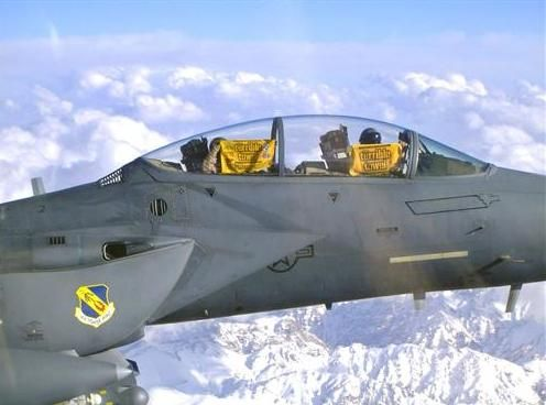 F-15E Strike Eagle pilots showing their Terrible Towels in flight in Afghanistan. The Terrible Towel is a rally towel associated with the Pittsburgh Steelers, an American football team in the National Football League (NFL) #pittsburgh #steelers #fans