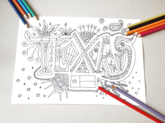 texas kids adult coloring book page instant di LaSoffittaDiSte