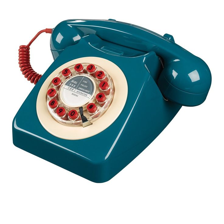 Téléphone 60's style - Bleu pétrole - Wild and Wolf