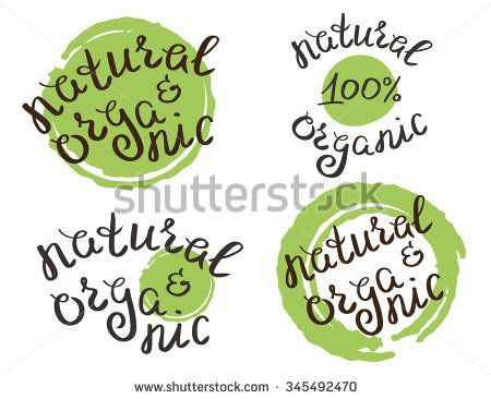 Set of four hand crafted stickers for natural and organic products with handwritten text and realistic green paint drops. Illustration isolated on white