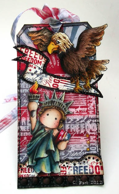 Liberty Tilda, Freedom Background, Eagle & Scroll stamps