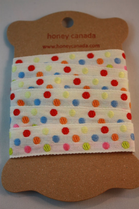 Cotton poly tape ivory polka dot  Japanese by Naturalwoolsupplies, $4.50