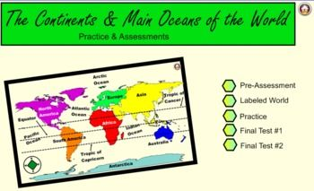 Continents and Oceans Practice & Assessments