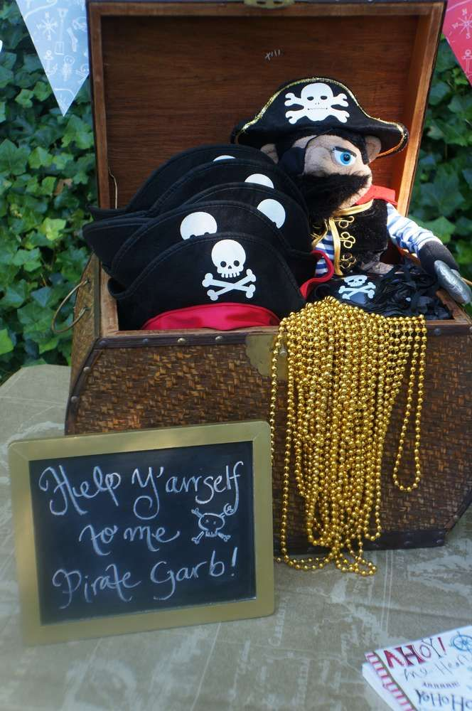 Pirate garb for the guests at a pirate pool birthday party! See more party ideas at CatchMyParty.com!