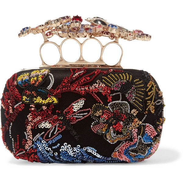 Alexander McQueen Embellished tulle and satin box clutch ($2,757) ❤ liked on Polyvore featuring bags, handbags, clutches, alexander mcqueen, purses, сумки, black, alexander mcqueen handbags, beaded hand bags and handbag purse