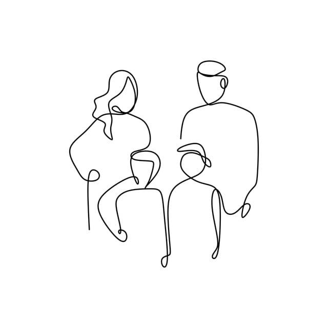 Continuous Line Drawing Of A Family Family Sketch Isolated Png And Vector With Transparent Background For Free Download Simple Line Drawings Line Drawing Line Art Drawings