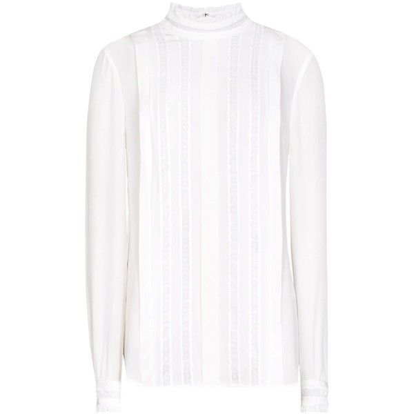 Reiss Sera High Neck Lace Shirt, Ivory (£150) ❤ liked on Polyvore featuring tops, blouses, lace blouse, shirts & blouses, white lace top, white lace shirt and white blouse