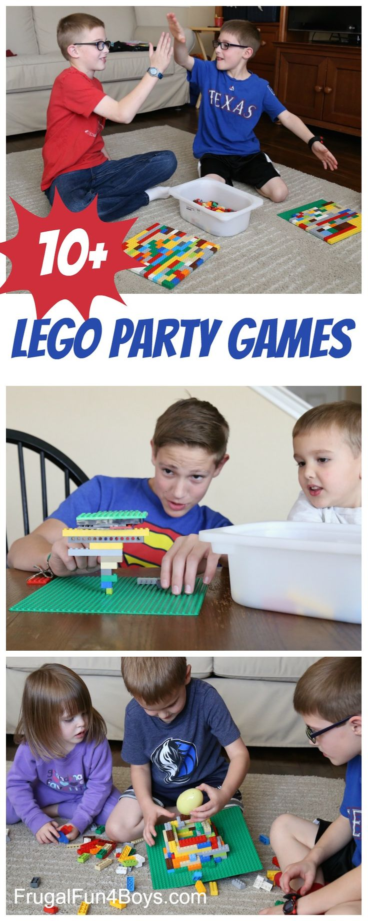 10+ Totally Awesome LEGO Party Games - LEGO challenges, minute-to-win-it style games, etc. So fun!!