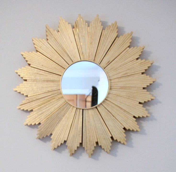 Wood shim sunburst mirror.