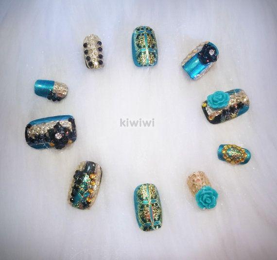Japanese 3D rhinestone pearl gel nail art press on door KiwiwiNails