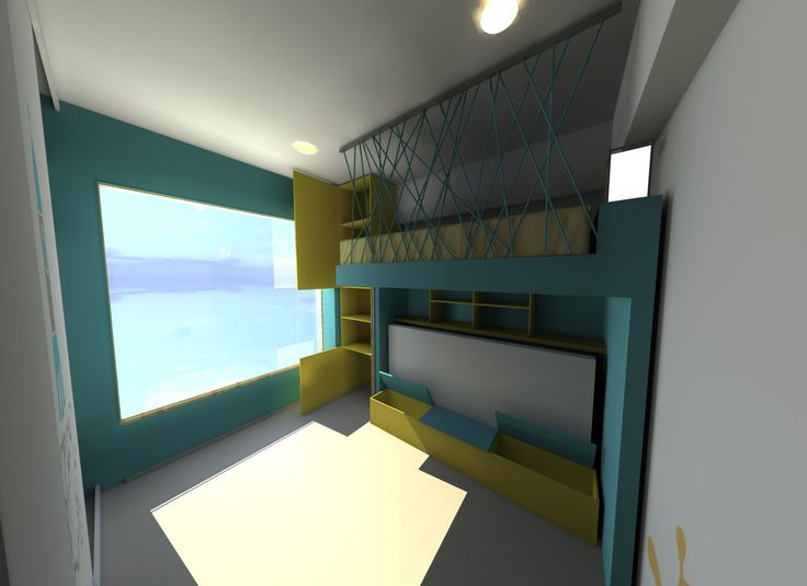 Diseño de recámara con muebles multifuncionales.- Recámara para niños libreros, closet, camas individuales, y área de guardado.