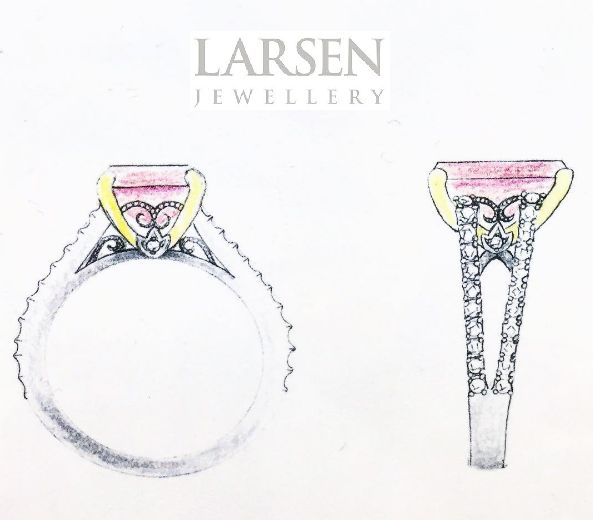 We love using sketches to help our customers visualise the end result of their custom made design.   #larsenjewellery #design #rings #engagementrings #weddingrings #weddingbands #custom #sketch #draw #art #ringsketch #sydney #sydneyjewellery #melbournejewellery #jewelry #jewels #custommade #bespoke #fashion