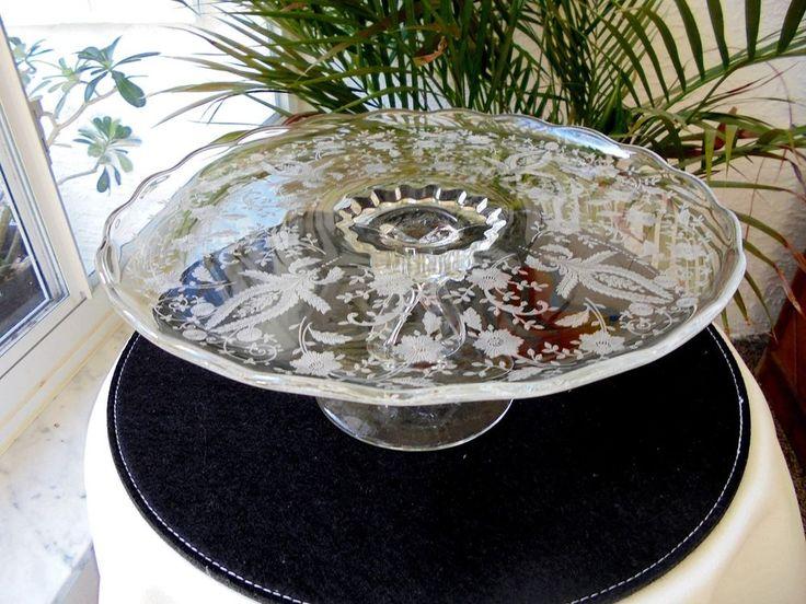 "Viking Glass Prelude Pattern Etch 12"" Round Cake Stand  #VikingGlass"