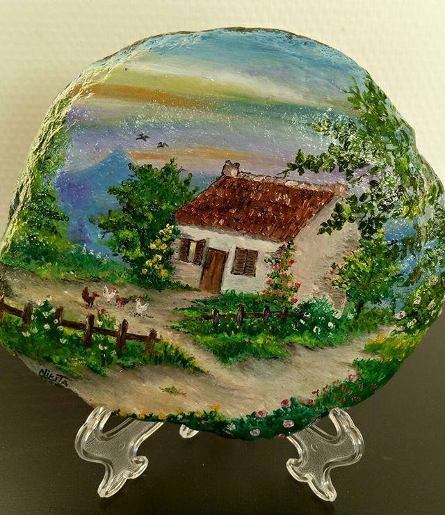 #handpainted #handpaintedstone #oilcolor #oilpainting #stonepainting #artonstones #art #artwork #landscape #house #painting