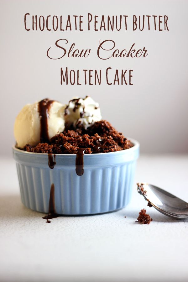 Easy and delicious Chocolate Peanut Butter Molten Cake #slowcooker #recipe