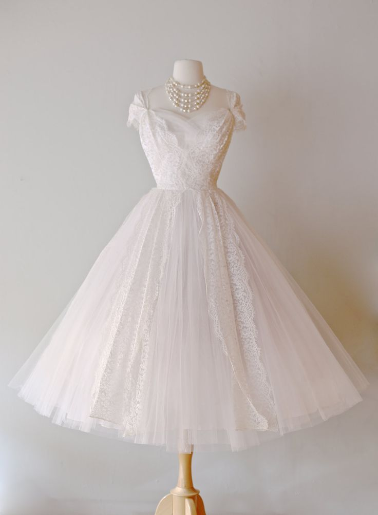 Beautiful 1950s Lace Tea Length Wedding Dress by Lorie Deb ~ Vintage 50s Lace and Tulle Ballerina Wedding Dress by xtabayvintage on Etsy