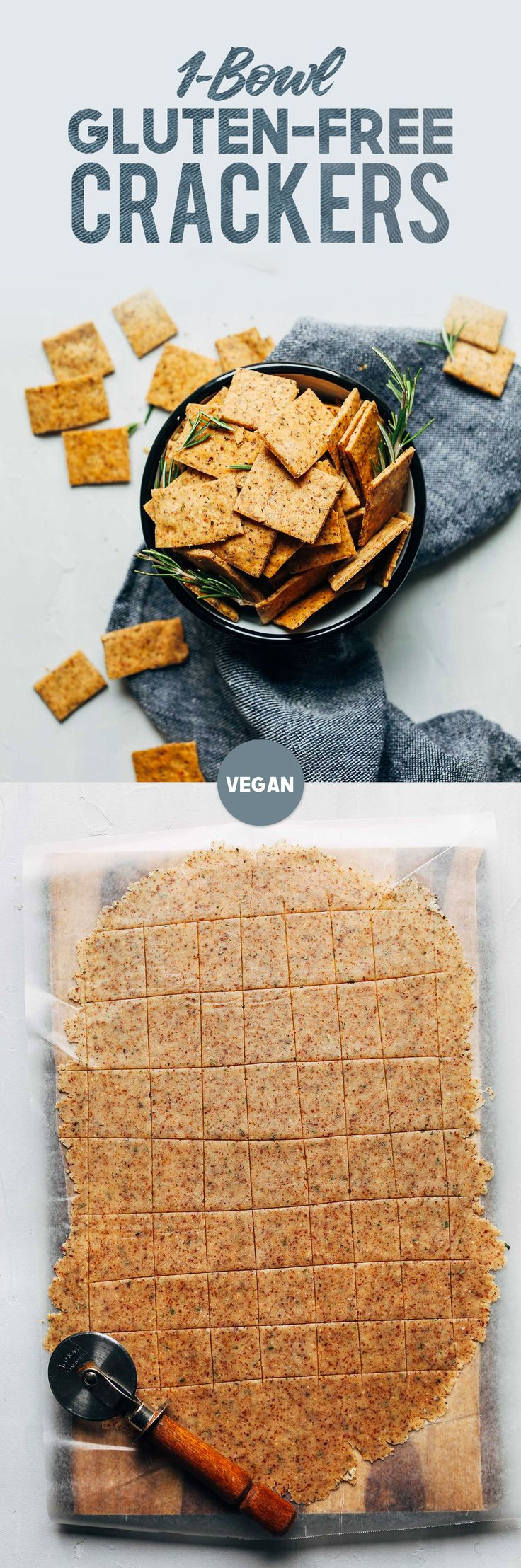 EASY Vegan Gluten-Free Crackers! 7 Ingredients, 1 Bowl, SUPER crispy and delicious! Ingredients: flour of choice, almond meal or oat flour, baking powder, flaxseed meal, rosemary, sea salt, oil