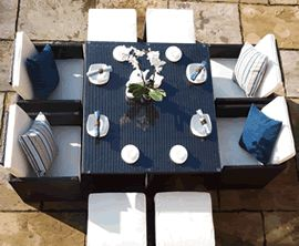 Garden dining sets at houseandhomeshop.co.uk in many different shapes, sizes and colours.