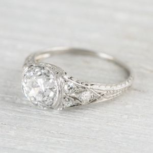 image of 195 carat art deco engagement ring estate engagement - Estate Wedding Rings
