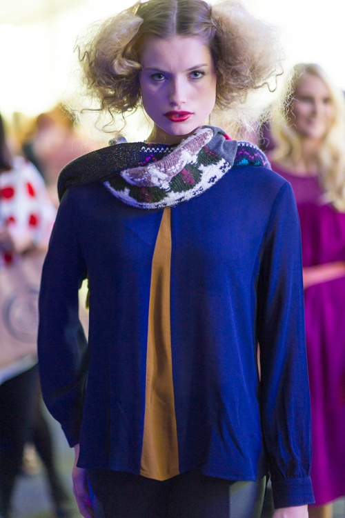 Starfish - Backstage after the show. Chloe Graham of 62 Models wears AW13 top and Second-Chance Scarf