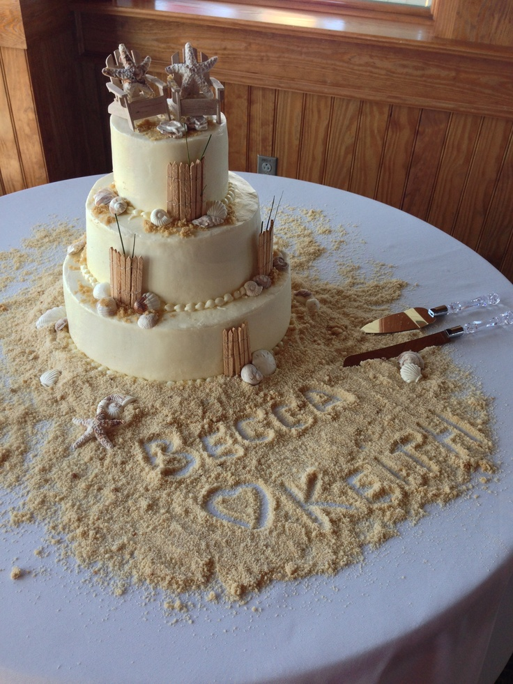 Beach-themed wedding cake with brown sugar sand and molded white chocolate seashells.
