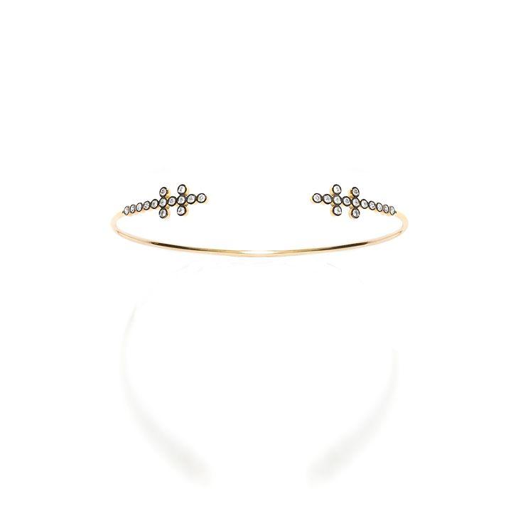 CHARNIERES bracelet, yellow & black gold 18K with brilliant-cut diamonds